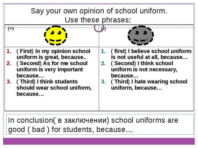 Say your own opinion of school uniform. Use these phrases: In conclusion( в з...
