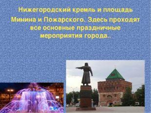 Нижегородский кремль и площадь Минина и Пожарского. Здесь проходят все основн