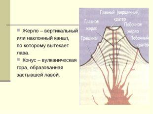 Жерло – вертикальный или наклонный канал, по которому вытекает лава. Конус –