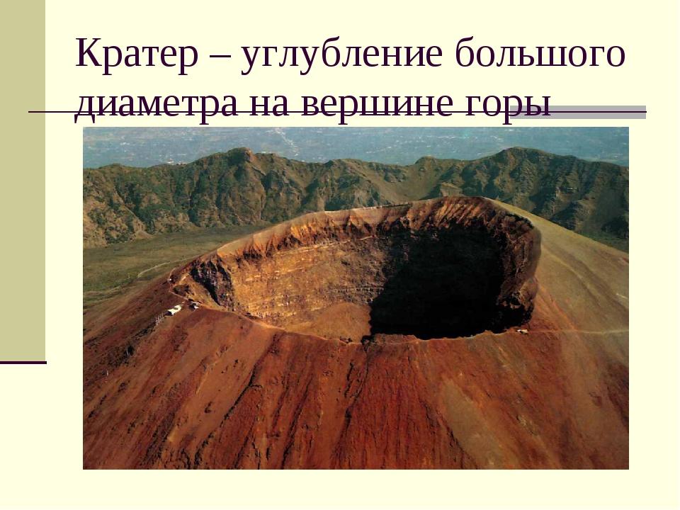 Кратер – углубление большого диаметра на вершине горы