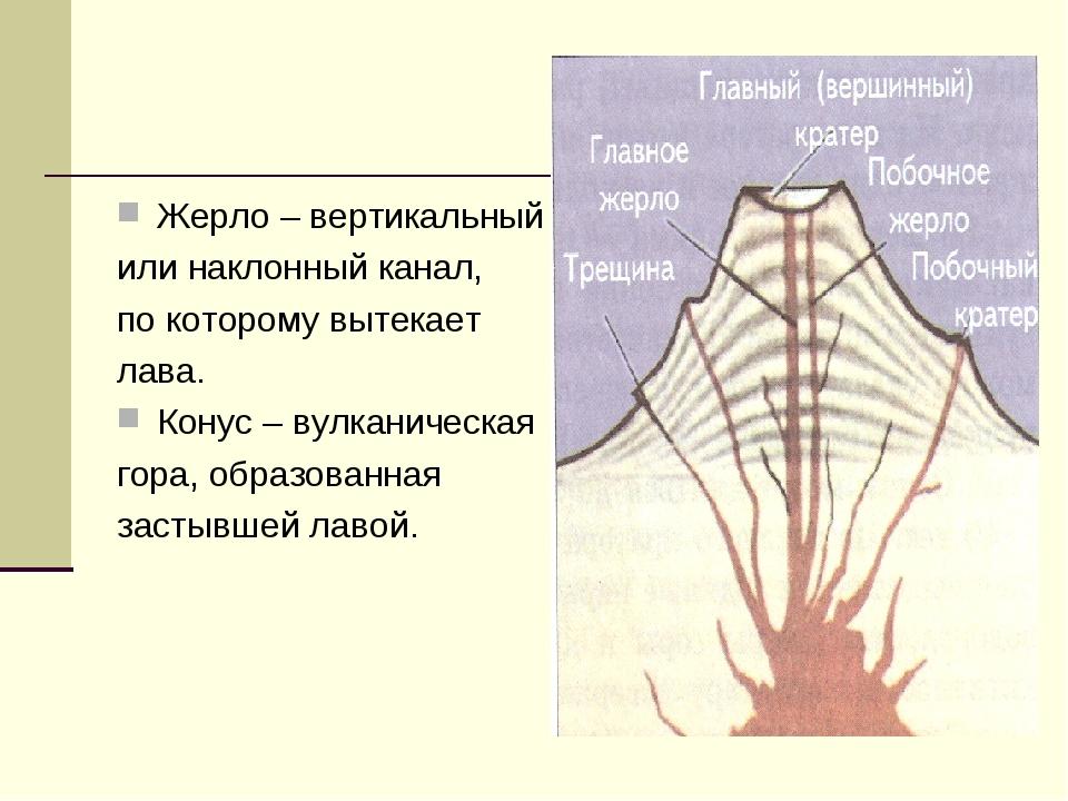 Жерло – вертикальный или наклонный канал, по которому вытекает лава. Конус –...