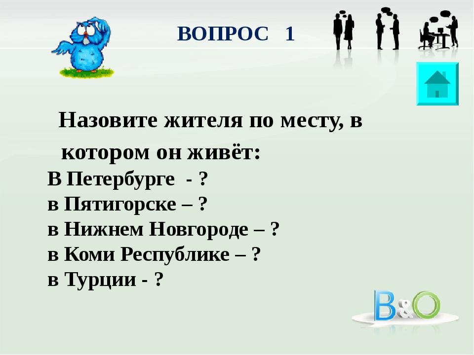 ВОПРОС 1 Назовите жителя по месту, в котором он живёт: В Петербурге - ? в Пят...