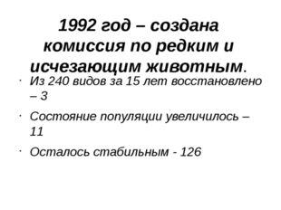 1992 год – создана комиссия по редким и исчезающим животным. Из 240 видов за