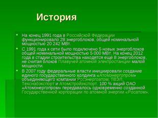 История На конец 1991 года в Российской Федерации функционировало 28 энергоб