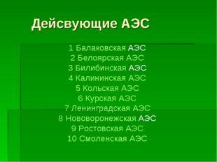Дейсвующие АЭС 1 Балаковская АЭС 2 Белоярская АЭС 3 Билибинская АЭС 4 Калини