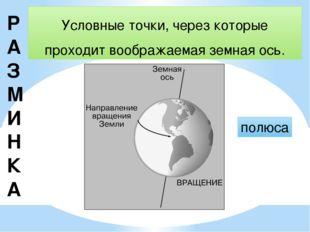 Р АЗМИНКА Условные точки, через которые проходит воображаемая земная ось. пол