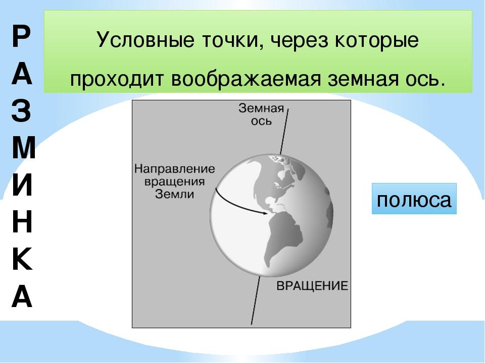 Р АЗМИНКА Условные точки, через которые проходит воображаемая земная ось. пол...