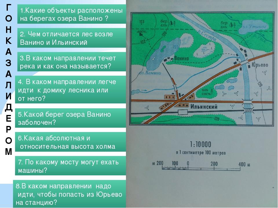 ГОНКА ЗА ЛИДЕРОМ 1.Какие объекты расположены на берегах озера Ванино ? 2. Чем...