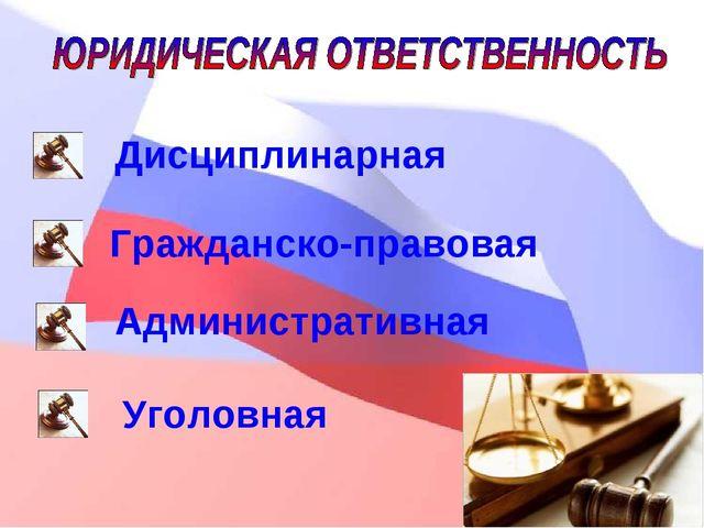 Дисциплинарная Гражданско-правовая Административная Уголовная