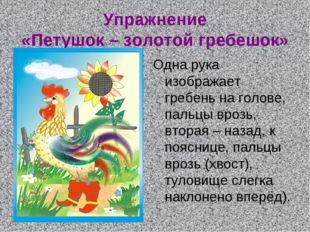 Упражнение «Петушок – золотой гребешок» Одна рука изображает гребень на голов
