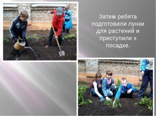 Затем ребята подготовили лунки для растений и приступили к посадке.