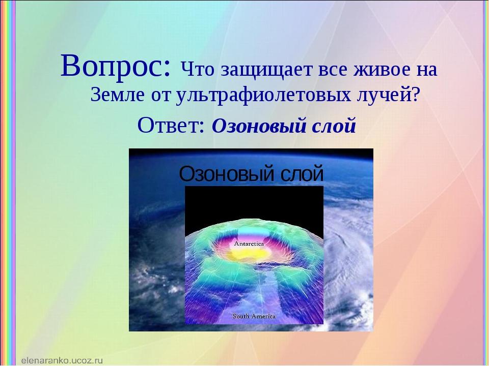 Вопрос: Что защищает все живое на Земле от ультрафиолетовых лучей? Ответ: Озо...