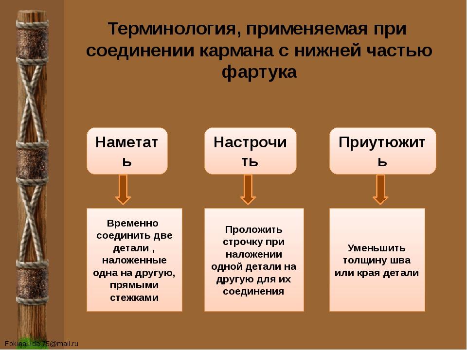 Терминология, применяемая при соединении кармана с нижней частью фартука Наме...
