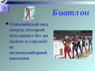 Биатлон Олимпийский вид спорта, который объединяет бег на лыжах и стрельбу из