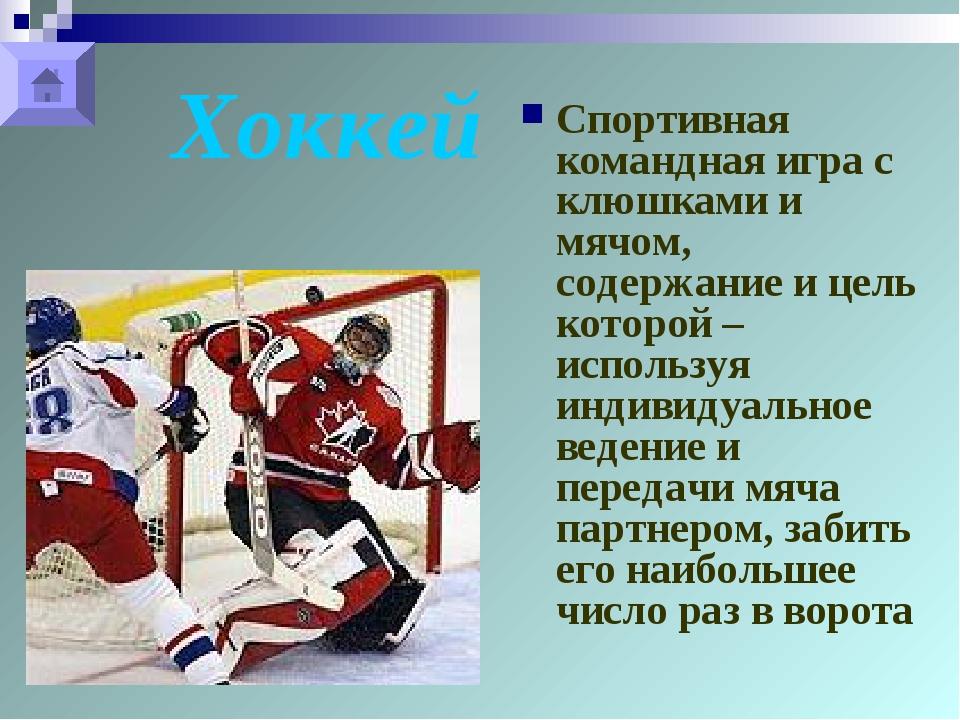 Хоккей Спортивная командная игра с клюшками и мячом, содержание и цель которо...