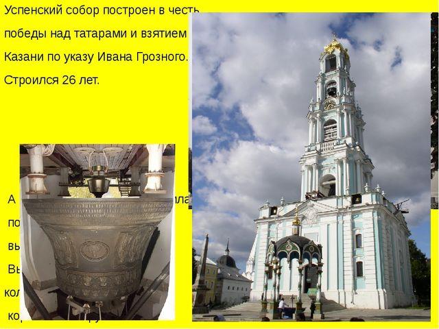 Успенский собор построен в честь победы над татарами и взятием Казани по ука...