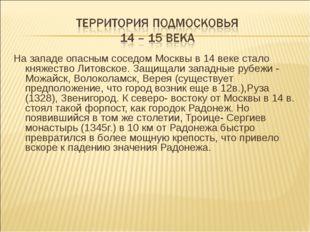 На западе опасным соседом Москвы в 14 веке стало княжество Литовское. Защищал