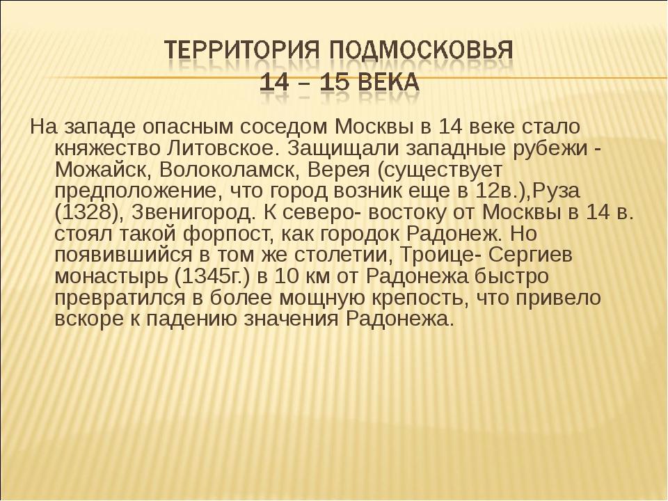 На западе опасным соседом Москвы в 14 веке стало княжество Литовское. Защищал...