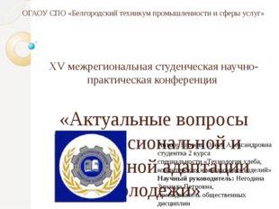 ОГАОУ СПО «Белгородский техникум промышленности и сферы услуг» XV межрегионал