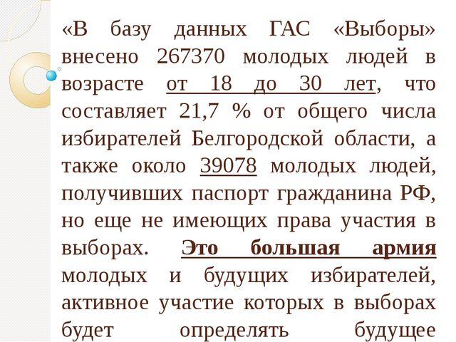 «В базу данных ГАС «Выборы» внесено 267370 молодых людей в возрасте от 18 до...
