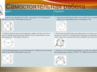 Самостоятельная работа Вариант1 Вариант2 1. В окружности с центромO ACи