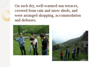 On such dry, well-warmed sun terraces, covered from rain and snow sheds, and