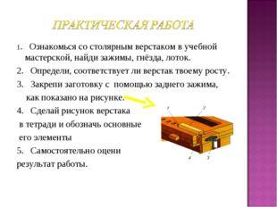1. Ознакомься со столярным верстаком в учебной мастерской, найди зажимы, гнёз