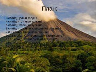 План: 3 слайд-Цель и задачи. 4 слайд-Что такое вулкан? 5 слайд-Строение вулка