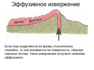 Эффузивное извержение Если газы выделяются из магмы относительно спокойно, то