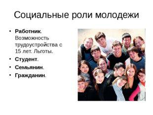Социальные роли молодежи Работник. Возможность трудоустройства с 15 лет. Льго