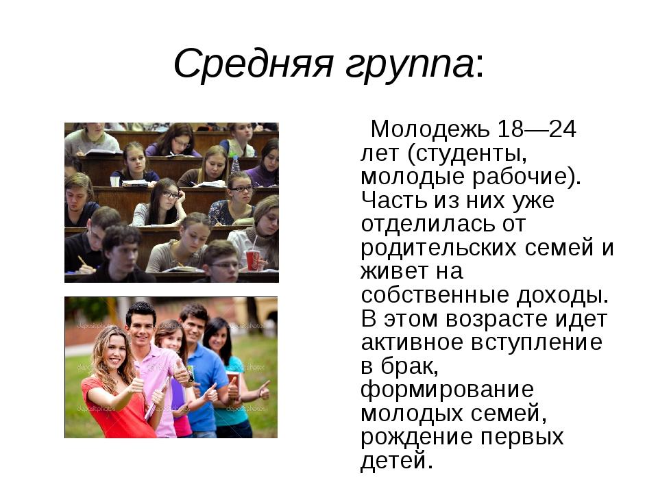 Средняя группа: Молодежь 18—24 лет (студенты, молодые рабочие). Часть из них...