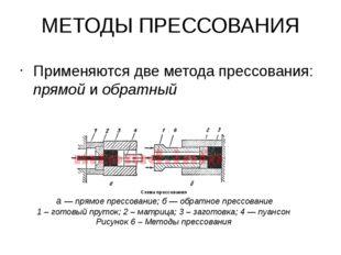 МЕТОДЫ ПРЕССОВАНИЯ Применяются две метода прессования: прямой и обратный Схем
