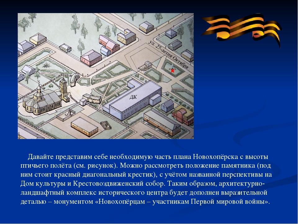 Давайте представим себе необходимую часть плана Новохопёрска с высоты птичье...