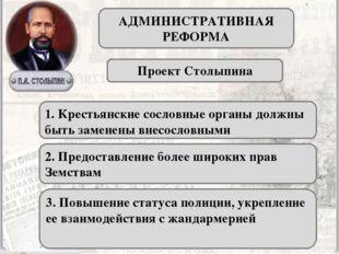 АДМИНИСТРАТИВНАЯ РЕФОРМА Проект Столыпина 1. Крестьянские сословные органы до