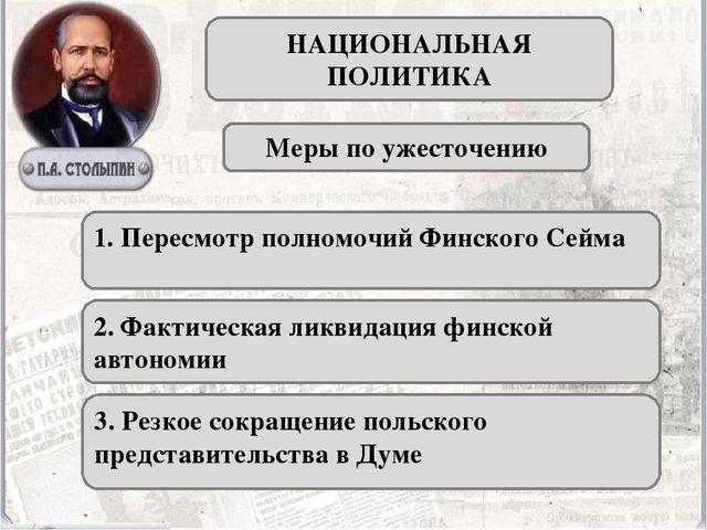 НАЦИОНАЛЬНАЯ ПОЛИТИКА Меры по ужесточению 1. Пересмотр полномочий Финского Се...