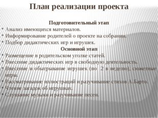 План реализации проекта Подготовительный этап Анализ имеющихся материалов. Ин