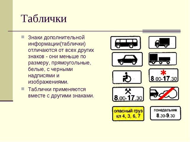 Таблички Знаки дополнительной информации(таблички) отличаются от всех других...