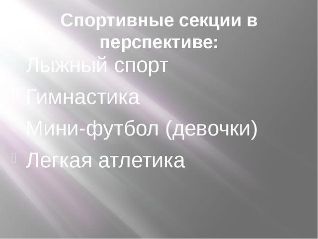 Спортивные секции в перспективе: Лыжный спорт Гимнастика Мини-футбол (девочки...