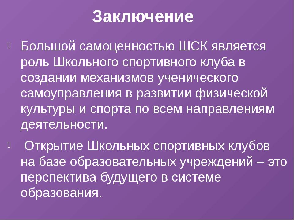 Заключение Большой самоценностью ШСК является роль Школьного спортивного клуб...