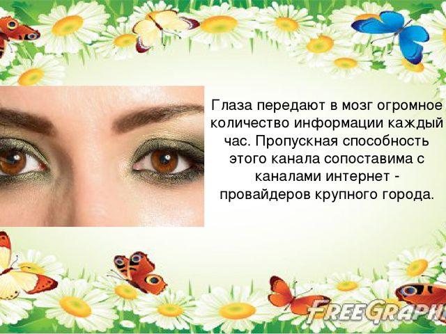 Глаза передают в мозг огромное количество информации каждый час. Пропускная...