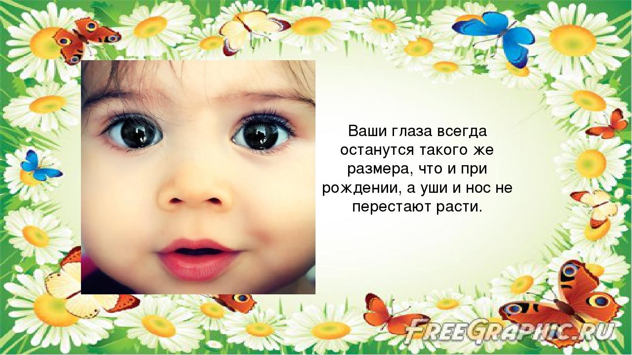 Ваши глаза всегда останутся такого же размера, что и при рождении, а уши и н...