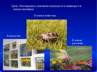 Цель: Исследовать значения влажности в природе и в жизни человека В исскустве