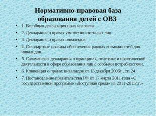 Нормативно-правовая база образования детей с ОВЗ 1. Всеобщая декларация пра
