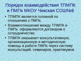 Порядок взаимодействия ТПМПК и ПМПк МКОУ Чикская СОШ№6 ТПМПК является головно