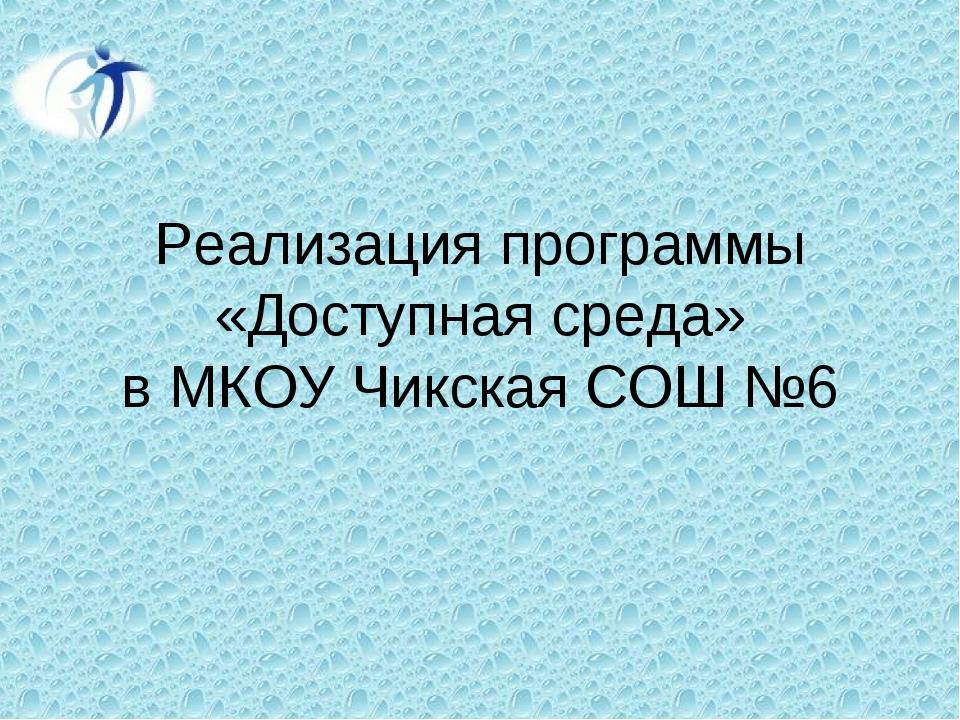 Реализация программы «Доступная среда» в МКОУ Чикская СОШ №6