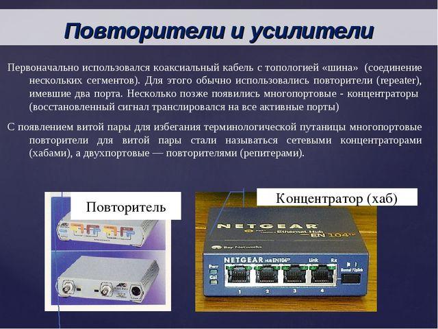 Первоначально использовался коаксиальный кабель с топологией «шина» (соединен...