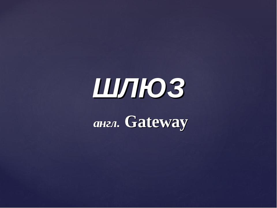 ШЛЮЗ англ. Gateway