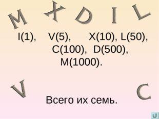 I(1), V(5), X(10), L(50), C(100), D(500), M(1000). Всего их семь.