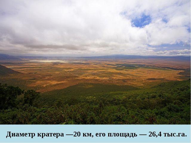 Диаметр кратера —20 км, его площадь — 26,4 тыс.га.