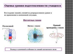 Магнитные линии Полосовой магнит Виток с током Воссоздание знаний, умений на